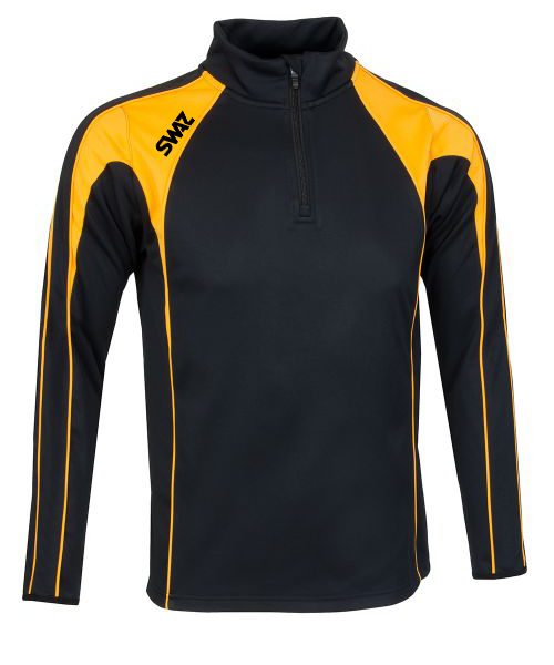 SWAZ Premier 1/4 Zip Midlayer Top – Black/Amber