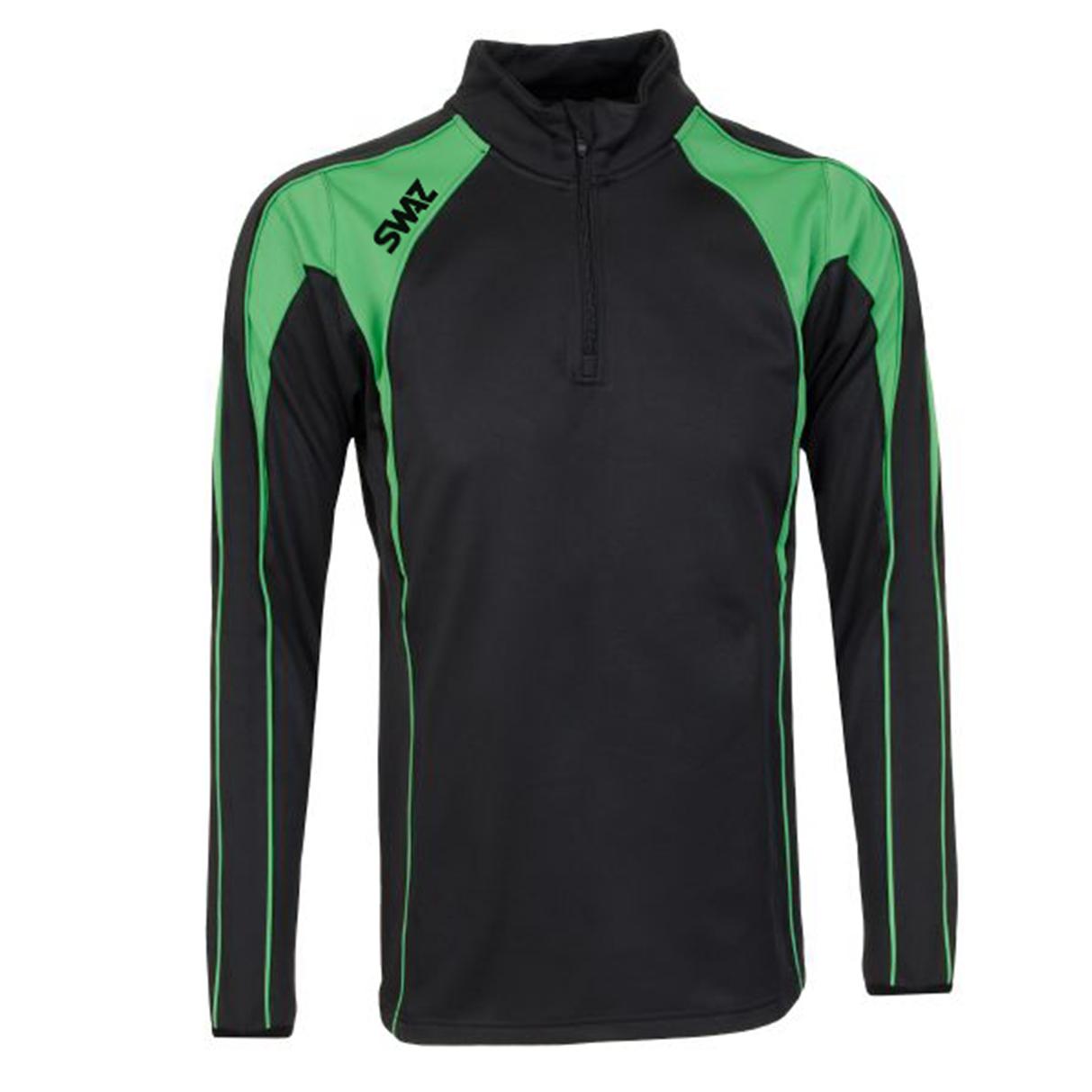 SWAZ Premier 1/4 Zip Midlayer Top – Black/Green
