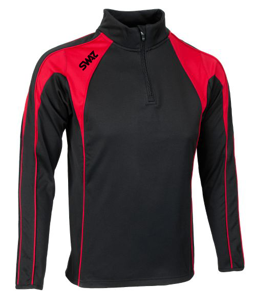 SWAZ Youth Premier 1/4 Zip Midlayer Top – Black/Red