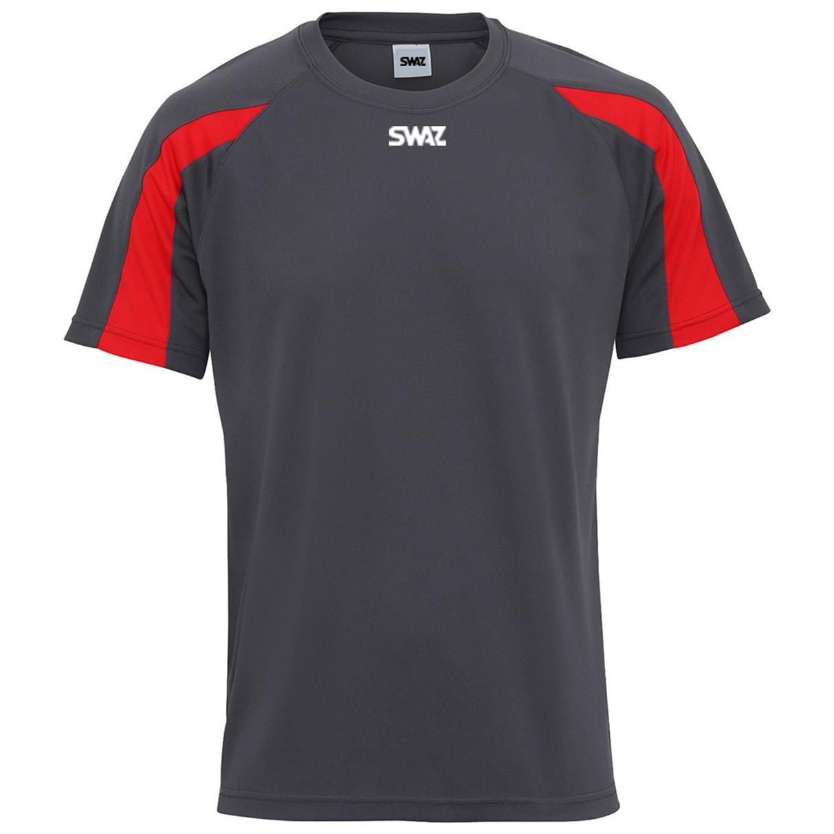 SWAZ Premier Training T-Shirt – Charcoal/Red