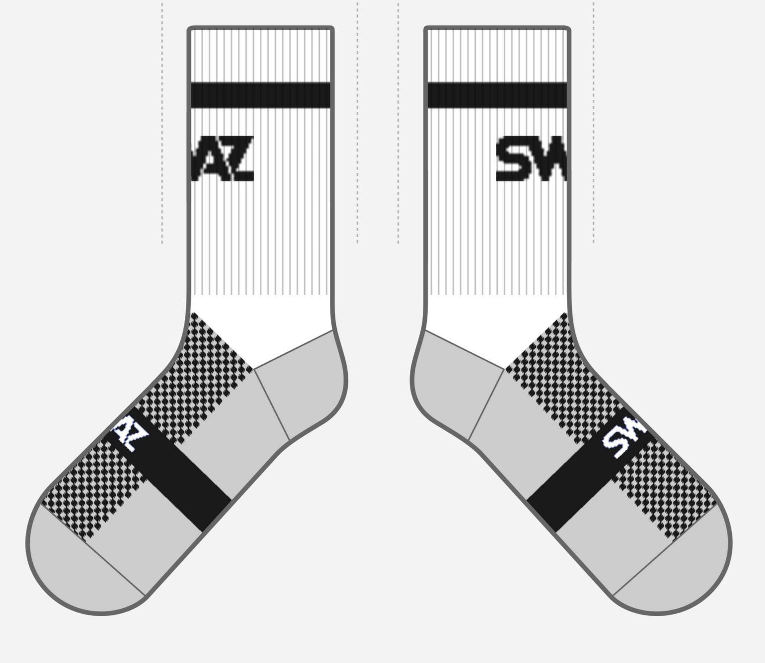 SWAZ Adult Crew Socks – White / Black