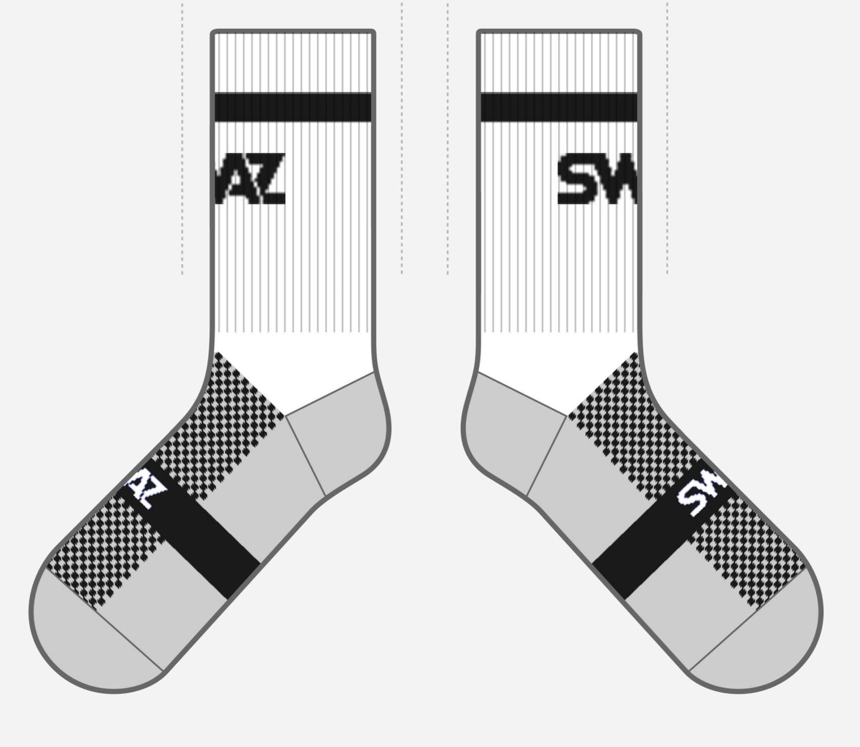 SWAZ Adult Crew Socks – White / Black