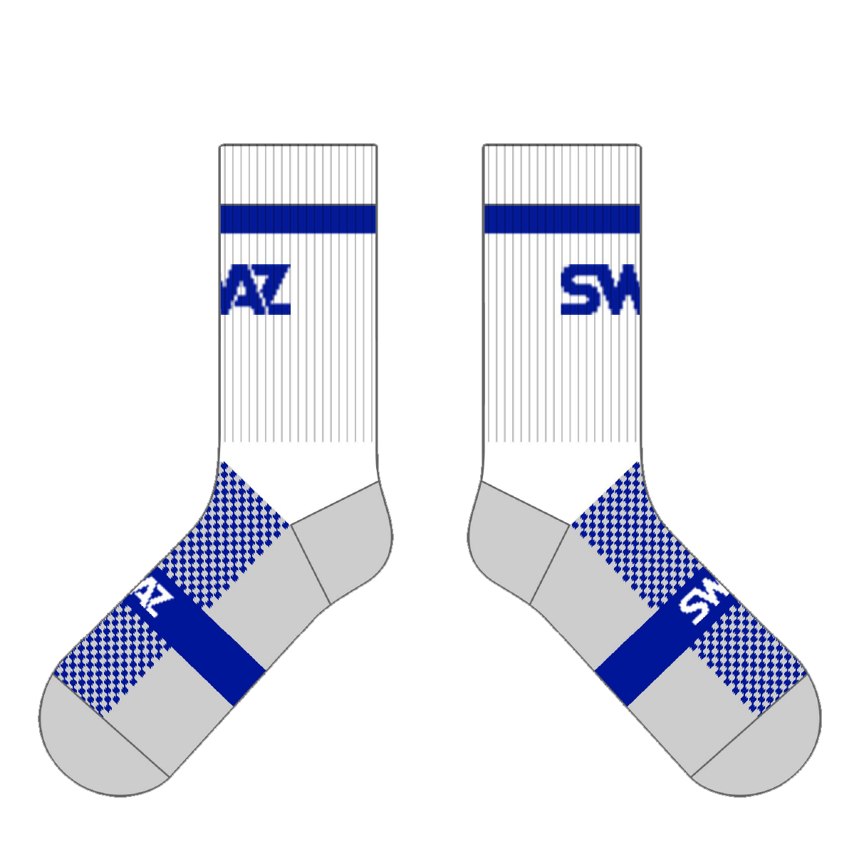 SWAZ Adult Crew Socks – White / Royal