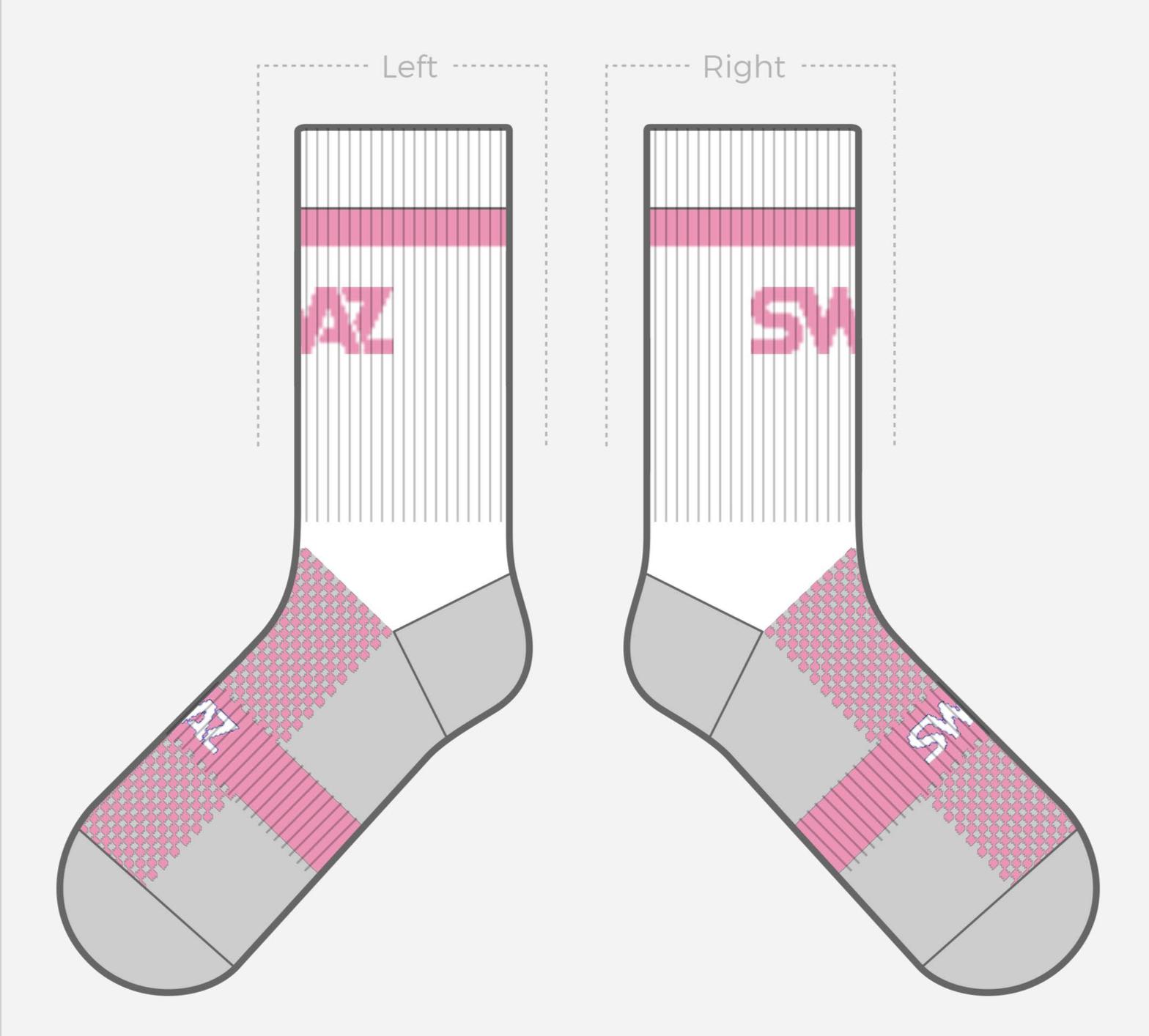 SWAZ Youth Crew Socks – White / Pink