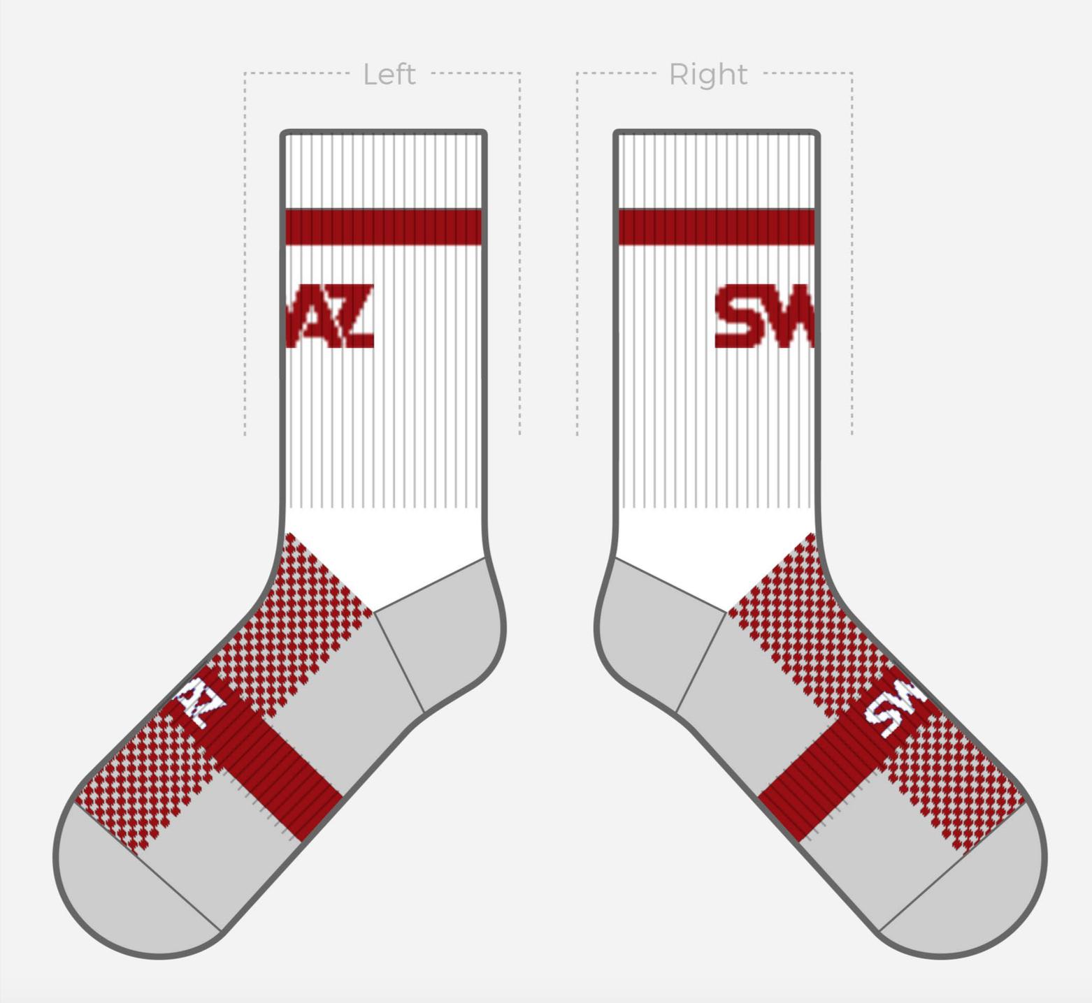 SWAZ Adult Crew Socks – White / Red