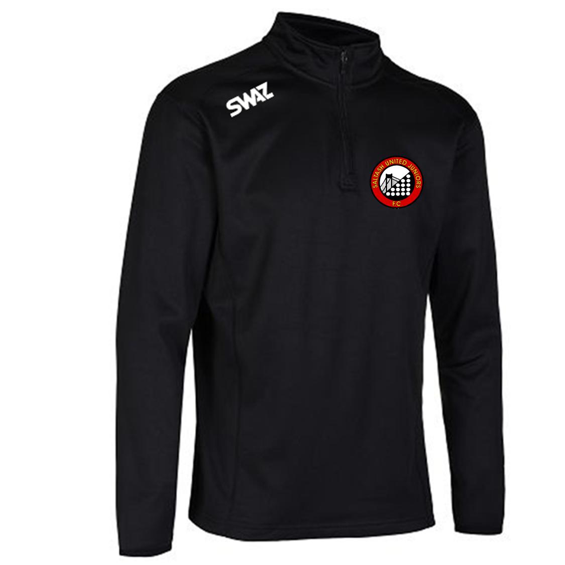 SWAZ Saltash United Juniors Youth Club 1/4 Zip Midlayer Top – Black