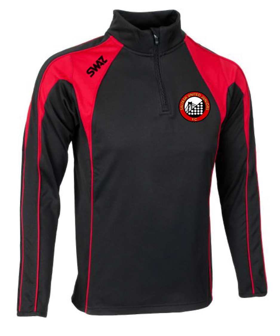 SWAZ Saltash United Juniors Adult Premier 1/4 Zip Midlayer Top – Black/Red