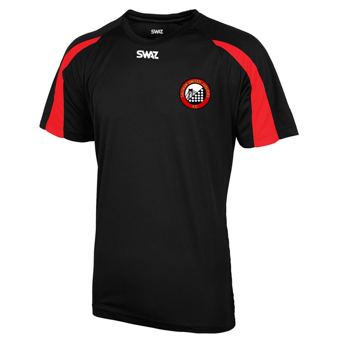 SWAZ Saltash United Juniors Adult Premier Training T-Shirt – Black/Red