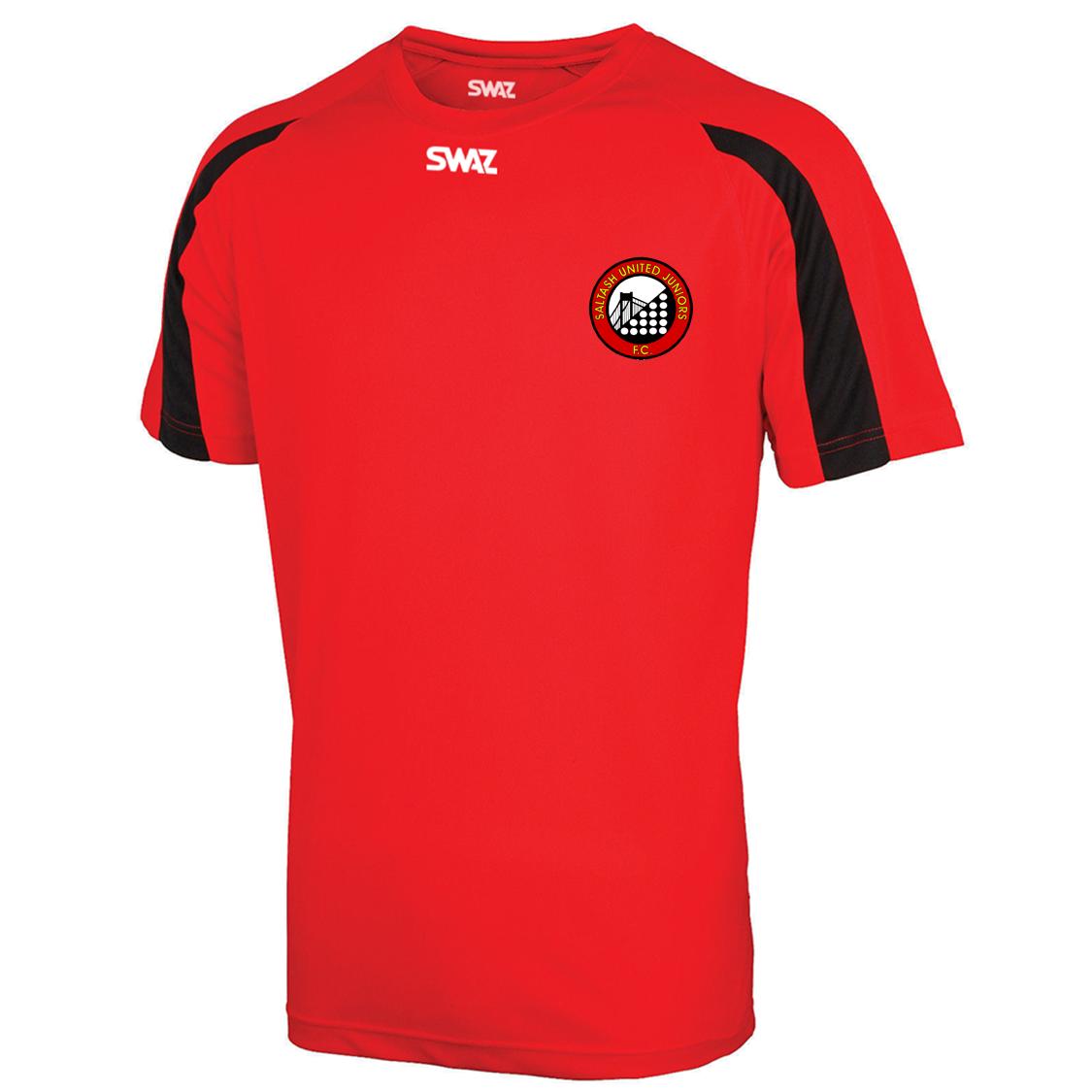 SWAZ Saltash United Juniors Adult Premier Training T-Shirt – Red/Black