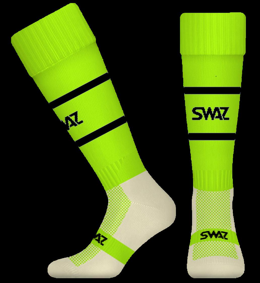 SWAZ YMCA All Saints Adult Training Socks – Electric Yellow/Black