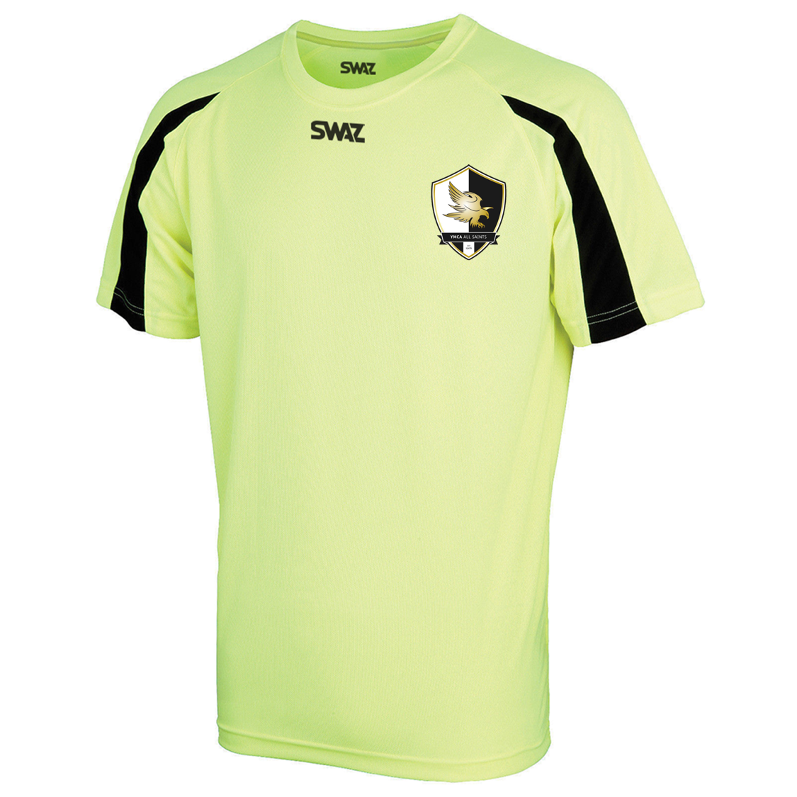 SWAZ YMCA All Saints Adult Premier Training T-Shirt – Electric Yellow/Black