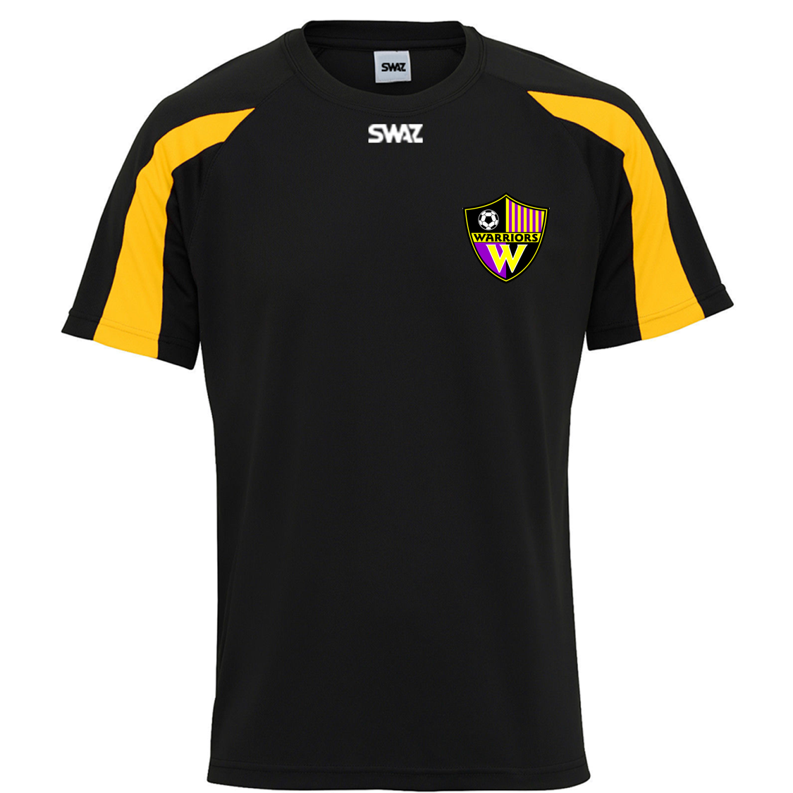 new style 5a7d2 0c418 SWAZ Plymouth Warriors Adult Premier Training T-Shirt - Black/Amber