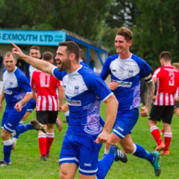 Exmouth Town Football Club running away in celebration