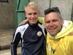 SWAZ Football Kits Director Andy Notman with Plymouth Parkwauy Football Club Player